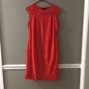Large red lace dress